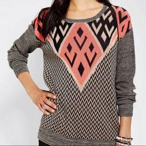UO Ecoté Intarsia Geometric Chevron Sweater